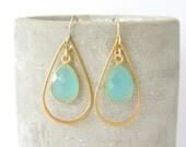 Chalcedony Gold Dangle Earrings - Aqua Chalcedony Earrings