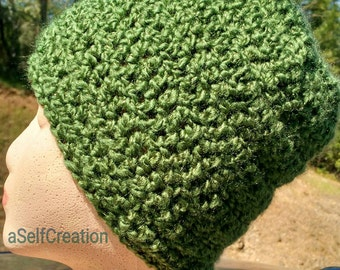 Green Head Hugger Style Beanie Hat