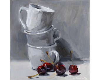 White Cup Stack and Five Cherries