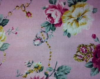 Rose and jewelry, soft pink, fat quarter, pure cotton fabric