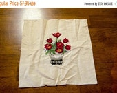 ON SALE Unframed Vintage Cross Stitch Sampler, floral motif with Roses in a stone pot, hand-stitched wall decor