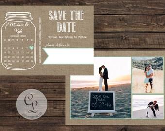 Mason Jar- Save the Date Engagement,Photo-Calendar-Post Card-BBQ Engagement Party-Casbury Lane