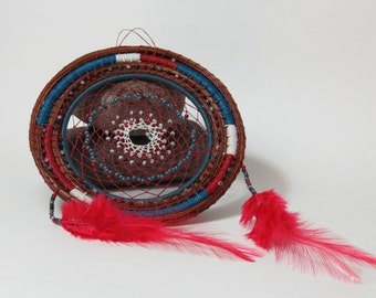 Dream catcher dreamcatcher handwoven from pine needles, red white and blue colors, americana, southwestern