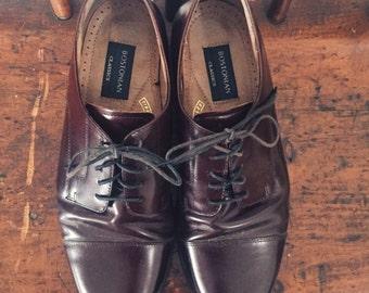 Vintage Men's Burgundy Oxfords by Bostonian, Size 10 M / Vintage Mens Dress Shoes / Bostonian Classics