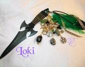 Loki  Embellished Athame - Several Blade Styles/Sizes -- Hematite, Emerald, Black Onyx
