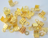 100 Gold Plated Crimp End Findings 4x7mm (b309)