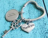 personalized thank you gift, bridesmaid gift, thank you keychain, appreciation gift, monogram keychain, best friend keychain, sister gift
