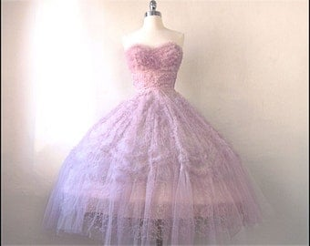 Perfect Pink 1950s Tulle & Lace Party/Prom Gown