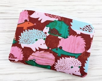 Hedgehog Zipper Pouch, Small Coin Purse, Wallet Pouch, Accessory Bag, Notions Bag, Padded, Brown