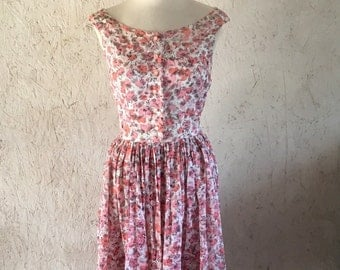 50's Vogue Fit and Flare Dress in Semi Sheer Rose Print Size XS-S