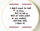 Valentine's Day PDF cross stitch pattern. Funny love message. Pdf Instant Download Wall hanging, frame, home decor. I love you Gift for him