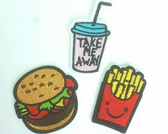 Set of 3 Beef Burger, Fries and Drink Embroidered Applique Patches. Iron On or Sew On Badges for T-shirts, Jeans, Shirts for Fast Food Fans