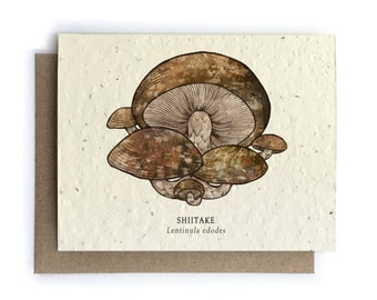 Shiitake Mushroom Greeting Card - Plantable Seed Paper - Blank Inside