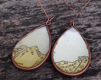 Vintage Florida Key Nautical Chart Map Copper Dangle Drop Earrings