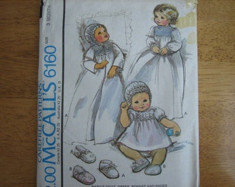 McCALL'S Pattern 6160 Baby's Coat, Dress, Bonnet and Shoes with Blue Transfer for Smocking    1978    Uncut