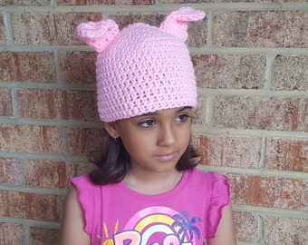 Little Pink Pig Crochet Hat Baby Girl or Baby Boy Photography Prop Costume All Sizes  from Preemie to Adult