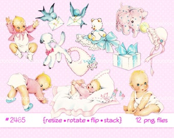 Digital Clipart, instant download, vintage baby clip art, toddlers, infant, lamb, baby girl, birds, baby toys, printable png files 2465