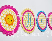 You are my Sunshine Personalized Happy Birthday Banner in Pink, Blue, and Yellow
