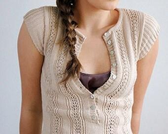 Kim Hargreaves exquisite beige handknit cap sleeve sweater XS unworn vintage Arielle