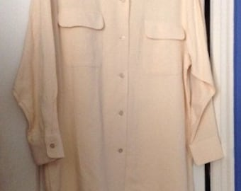 Annie Hall Long Tailored Menswear Styled Shirt in Waffleweave Raw Silk Size L