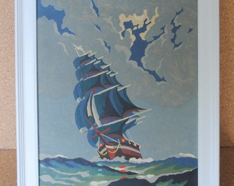 Vintage Ship at Sea Mid Century Paint By Number Framed Art in White Wood Frame