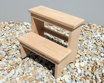 Rustic Alder  2-Step Stool, Unfinished