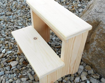 14 Inch Tall Handcrafted Pine Step Stool, Unfinished