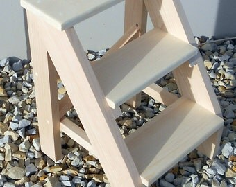 Handcrafted Pine Three Step Stool, Unfinished