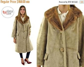 On Sale - Vintage 60s Faux Mink Fur Coat / Blonde Faux Mink Coat / 60s Mod Faux Fur Coat / md lg