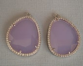 2pcs-Large Faceted Glass Lilac Pendant  Bezel with Clear Cubic Zirconia Rhodium Brass .