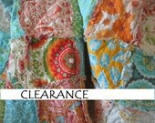 Reserved - CLEARANCE rag quilt THROW - reversible - Ready To Ship