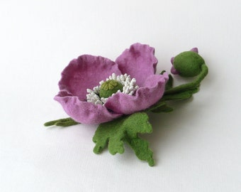 Felt flower brooch lilac poppy, ready to ship
