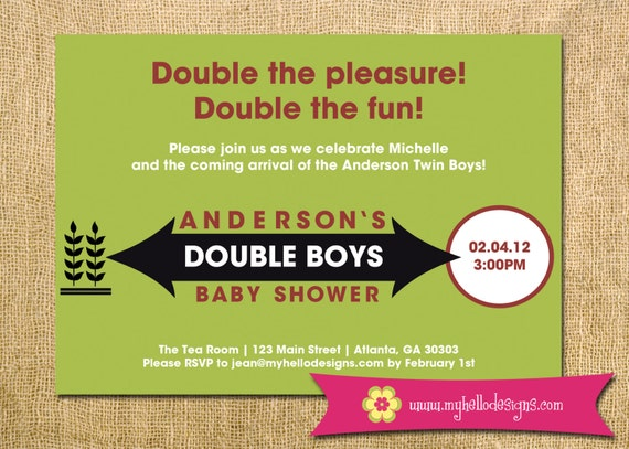 Twins Baby Shower Double Mint Gum Inspired Boys Girls fun custom original Printable DIY invite invitation print
