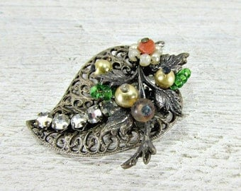 Vintage Brooch Pin, Brass Filigree Leaf Brooch, Hand Beaded, Glass Pearls & Beads, Flowers, Rhinestones, 1940s Vintage Jewelry, Gift for Mom