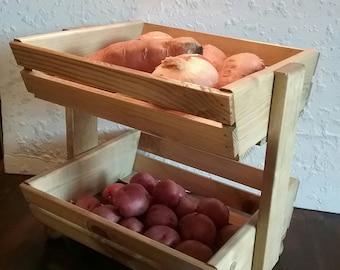 Kitchen Storage Bin - Fruit Bin - Vegetable Storage Bin - Fruit Storage Stand - Kitchen Storage Basket - Wooden Bin - DREAMATHEME
