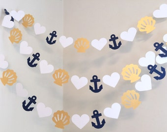Wedding Garland / 10ft Anchors ,Shells and Hearts Garland / Navy and White Beach wedding Decor / Nautical Bridal Shower Decor / your colors