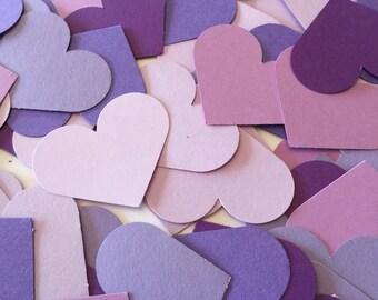 200 Paper Heart Confetti - Purple Heart Wedding Confetti - Light and Dark purple Bridal Shower Decor- table scatter Custom Colors