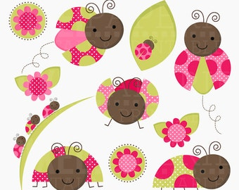 ladybug digital stamps lady bugs leaves leaf flowers insects - Lovely Ladybugs Digital Clipart