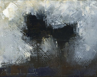 Original Abstract Landscape Oil Painting on Canvas by John Shanabrook - 6 x 8 - The Harrying of Winter