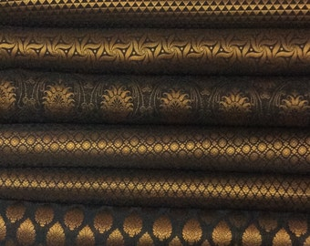 Bundle of Black Indian silk brocade fabric set of 8 fat quarters