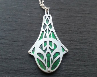 Geometric Flow Pendant - handcut sterling silver and paua shell.