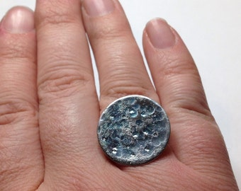 Gorgeous Geekery Lunar Landscape Ring in Sterling Silver - Fully Adjustable, Moon, Astronomy, Physics, Science, Teacher - Great Gift!