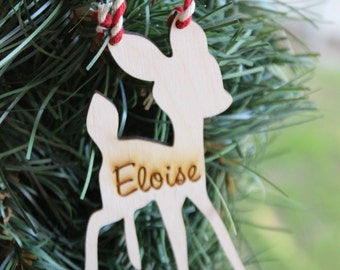 Woodland Animals Christmas Ornaments,Babys First Christmas Ornament, Fawn,Custom Personalized Decoration,Baby Deer Christmas in July