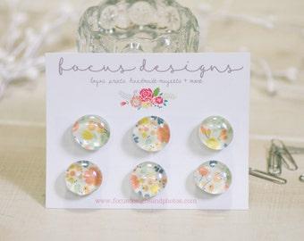 Glass Magnets - set of 6_ Floral