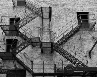 Chicago Photography, Fire Escape Photograph, Chicago Black and White Wall Art, Downtown Urban Wall Art, Chicago Architecture