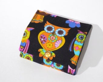 Folding Coin purse, change purse, coin pouch Owls
