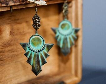 Boho Chic Patina Earrings Vintage Style Egyptian Earrings Art Deco Geometric Christmas Gift - E286