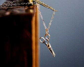 Scissors Necklace Sterling Silver Scissors charm Miniature Craft Scissors Hairdresser Necklace Seamstress Necklace Scissors Jewelry – N330