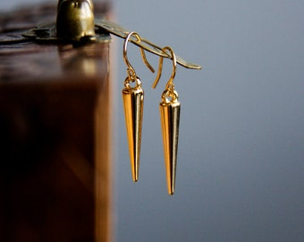 Gold Cone Earrings Tribal Spike Drop Earrings Lightweight Geometric Earrings Simple Modern Earrings - E304