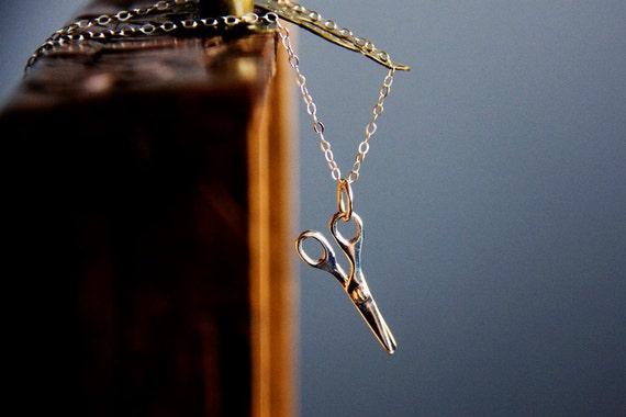 Scissors Necklace Sterling Silver Scissors charm Miniature Craft Scissors Hairdresser Necklace Seamstress Necklace Scissors Jewelry – N330